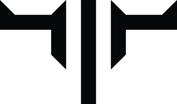 monogram letter T and bull logo, simple bulls head vector icon