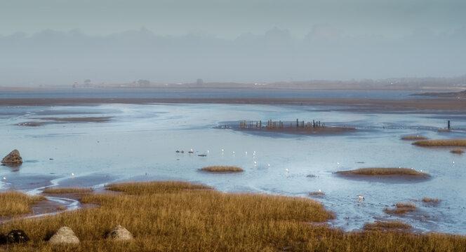 Artistic Impressionist style photo image of the estuary at Northam Burrows, North Devon, England.