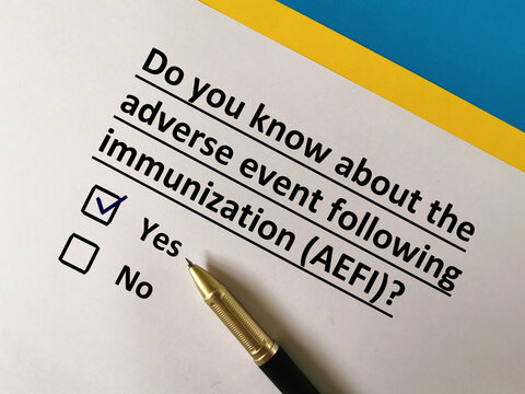 One person is answering question about vaccines. He knows about adverse event following immunization (AEFI).