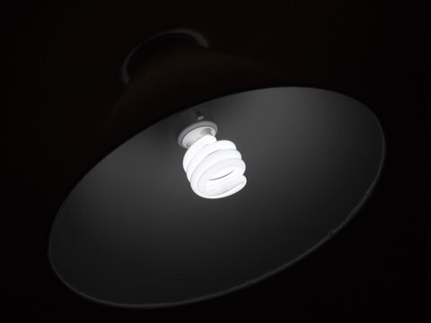Energy efficient CFL compact fluorescent light bulb in lampshade.