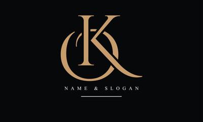 Obraz OK, KO, O, K abstract letters logo monogram - fototapety do salonu