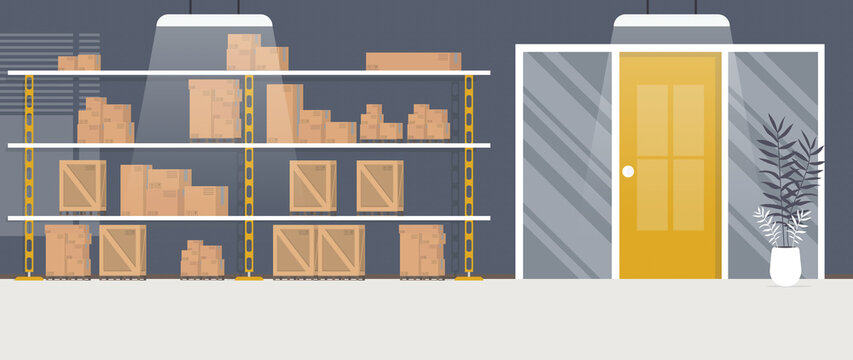 Warehouse with racks and boxes. Large warehouse. Cartoon style. Vector illustration.