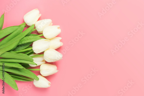 Spring flowers bunch of white tulips on the pink background with free space for text. Mother's day or women's day composition.