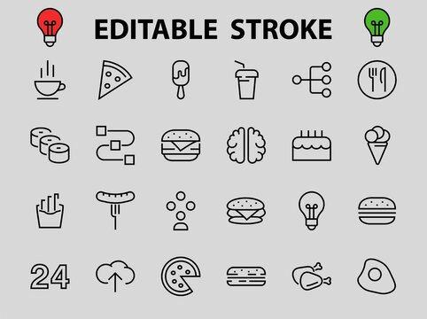A simple set of fast food icons related to the vector line. Contains icons such as pizza, burger, sushi, bike, scrambled eggs and more. EDITABLE stroke. EPS 10