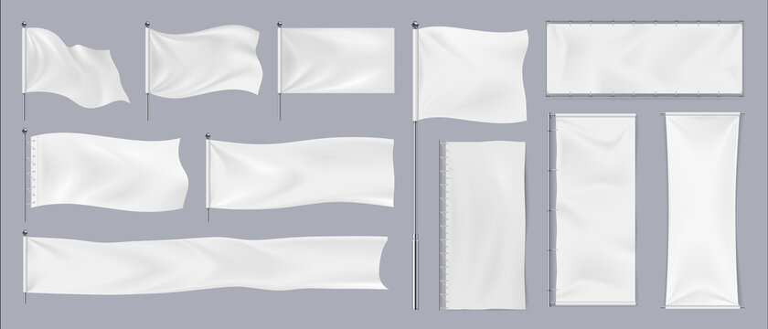 Realistic textile banners. 3D blank waving cotton flags. Empty fabric signboards for advertising. White canvas hanging on chrome stand. Horizontal or vertical pennants for brand identity, vector set