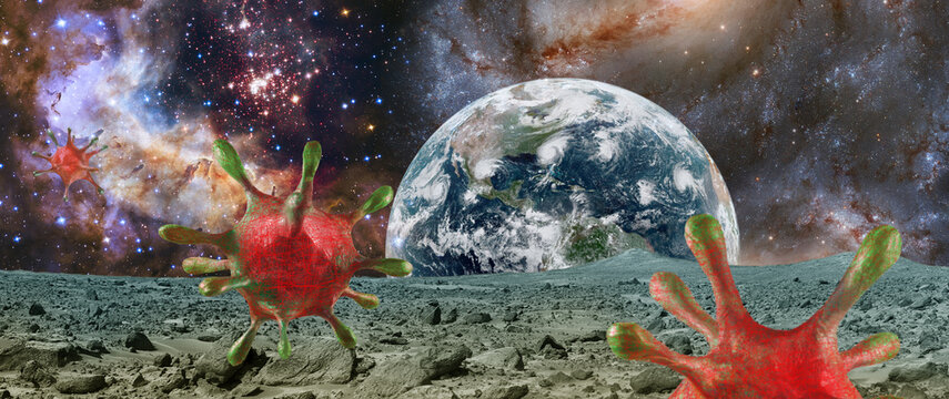 stylized viruses on the background of outer space. Elements of this image furnished by NASA.
