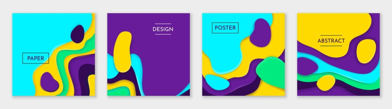 Square paper cut posters. 3D origami banners. Bright minimal multilayer shapes. Colorful abstract design with lettering and copy space. Decorative layered texture effect. Vector web templates set
