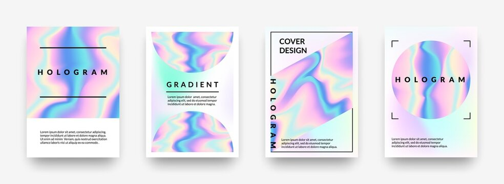 Pearlescent posters. Abstract holographic rainbow metal gradient, violet and pink hologram geometric shapes. Vector iridescent effect 90s mesh horizontal minimalist background set with copy space