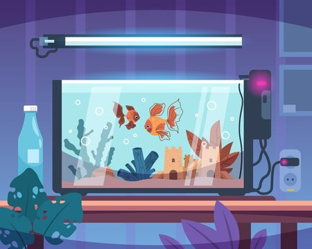 Cartoon aquarium. Room interior. Glass tank with water and sand stand on table. Living conditions for goldfish and seaweeds. Underwater sea fish in modern aquaria with air generator. Vector pet care