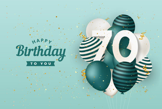 Happy 70th birthday with green balloons greeting card background. 70 years anniversary. 70th celebrating with confetti. Vector stock