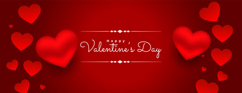 3d valentines day red hearts background design