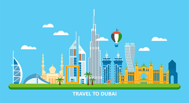 Travel to Dubai concept with skyline and famous buildings landmark