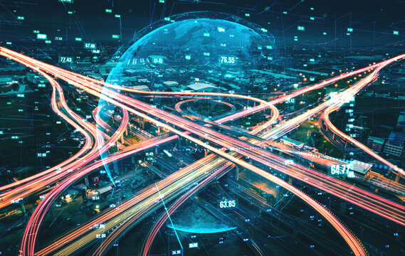 Futuristic road transportation technology with digital data transfer graphic showing concept of traffic big data analytic and internet of things .