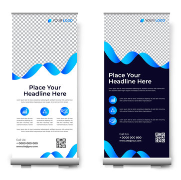 Business Roll Up. Standee Design. Banner Template.  business, advertising, Presentation. Template of vertical roll-up banner. Vector illustration
