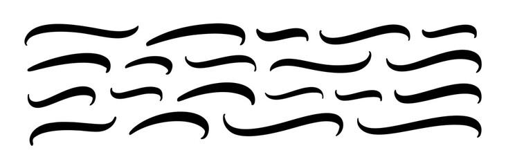 Obraz Set of hand lettering underlines lines. Vector underline stroke. Design concept element collection. - fototapety do salonu