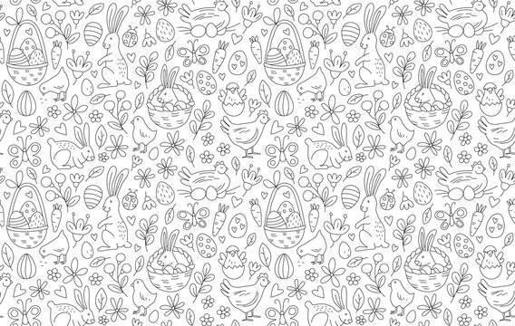 Funny Happy Easter seamless pattern background greeting card