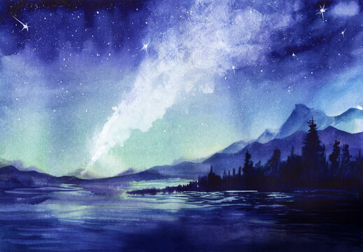 Amazing watercolor landscape of beautiful night sparkling with billions of stars. Milky way and shining constellations above lake surrounded blurry silhouettes of mountains and wood. Starry night.