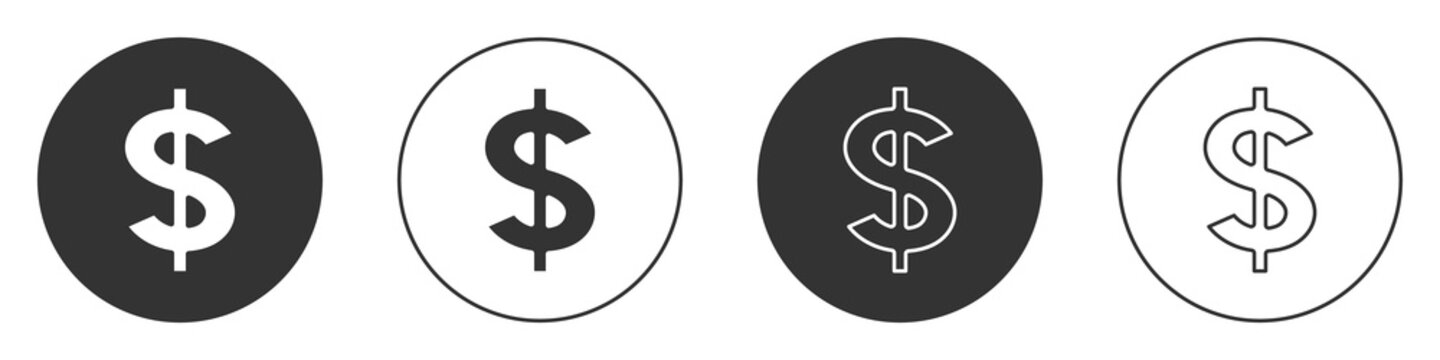 Black Dollar symbol icon isolated on white background. Cash and money, wealth, payment symbol. Casino gambling. Circle button. Vector.
