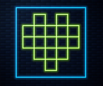 Glowing neon line Pixel hearts for game icon isolated on brick wall background. Vector.