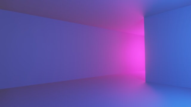 Concept abstract, spacious hall with light pink, purple and blue empty - 3d rendering.