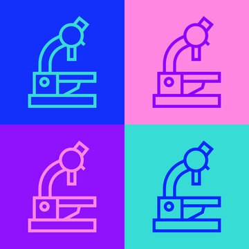 Pop art line Microscope icon isolated on color background. Chemistry, pharmaceutical instrument, microbiology magnifying tool. Vector.