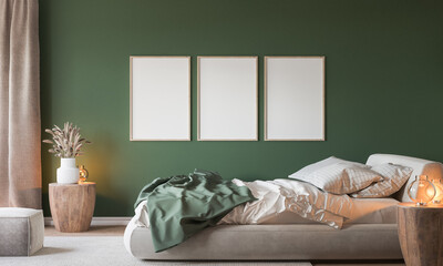Fototapeta Home interior background, cozy green bedroom with bright furniture natural wooden tables, frame mockup in modern style, 3d render obraz