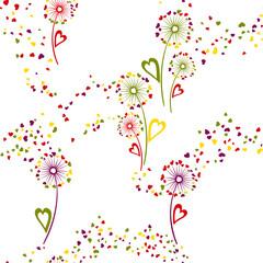 Fototapeta Dandelion flowers unique vector seamless pattern.