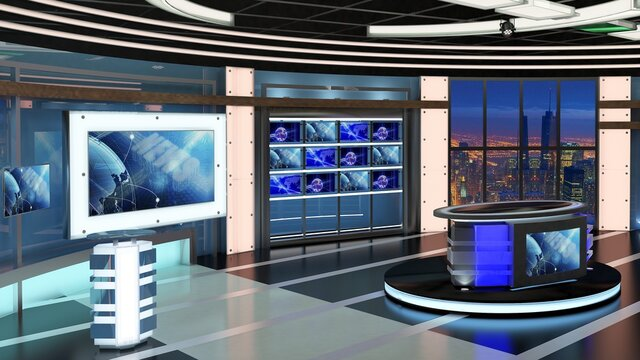 Virtual TV Studio News Set 27. Green screen background. 3d Rendering.
