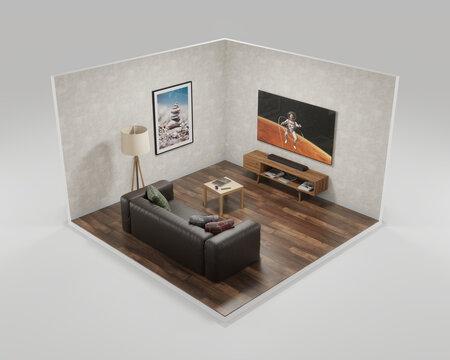 modern interior living room isometric 3d