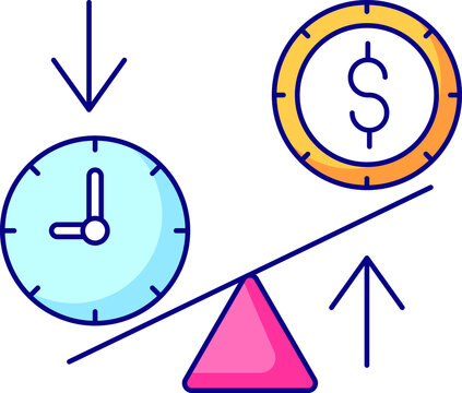 money in exchange for time, time managment. color icon