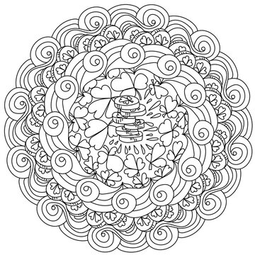 St. Patrick's day manadala with a stack of coins in the center, coloring page about luck and wealth