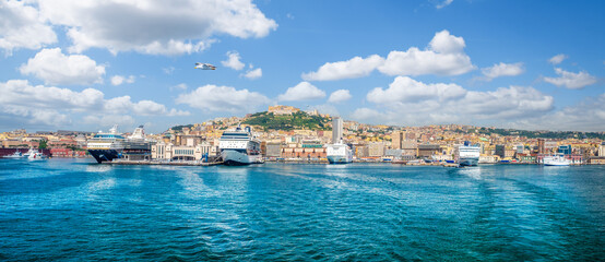 Wall Mural - Landscape with Naples harbour, Italy