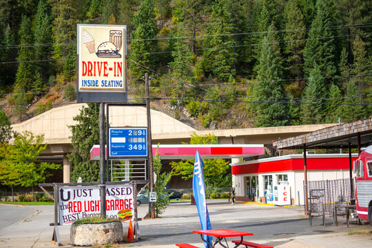 General view of the Red Light Garage's Drive-in Sign outside their cafe in the historic city of Wallace, Idaho on August 22 2020.