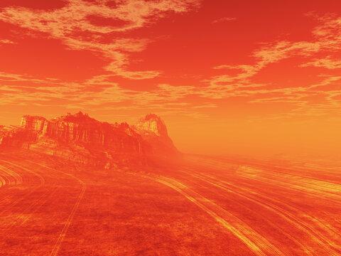 3D Mars like surreal landscape