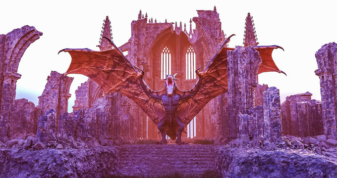 dragon with open wings in the cathedral ruins