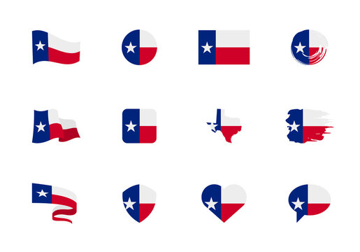 Texas - flat collection of US states flags. Flags of twelve flat icons of various shapes. Set of vector illustrations