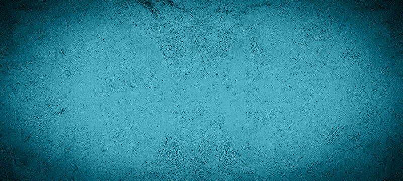 Dark green blue turquoise stone concrete paper texture background panorama banner long, with space for text with black vignette