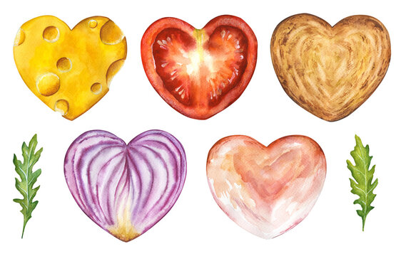 Watercolor set of sliced food hearts isolated on white background. Hand drawn illustration of heart shaped sandwich parts: cheese, tomato, onion, toast, rukkola, ham. Love theme for Valentines day.