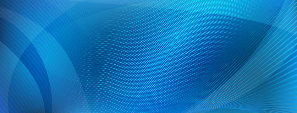Abstract background made of curves and halftone dots in blue colors