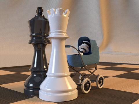 Figuras 3d de un rey y una reina de ajedrez paseando en cochecito a un peón a rayas sobre un tablero