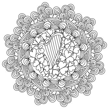 Ornate mandala with clover leaves and a harp in the center, St. Patrick's Day coloring page