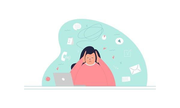 Information overload and multitasking problems concept illustration