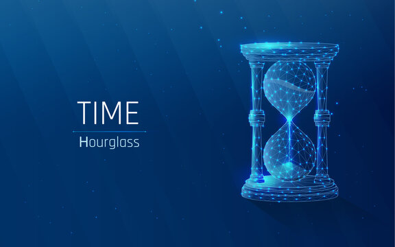 hourglass as a symbol of keeping time . deadline concept. glass flask with sand inside .Time, countdown. vector illustration, triangle, plexus, low poly, looks like constellation  blue background, dot