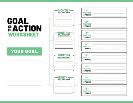 Goal to action worksheet template. Used to plan and track goals, skills to develop and practice over the duration of 4 month. Lifestyle change or self-improvement worksheet. Green color theme.