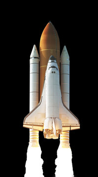 Spaceship takes off ,Rocket isolated with clipping path.Elements of this image furnished by NASA.