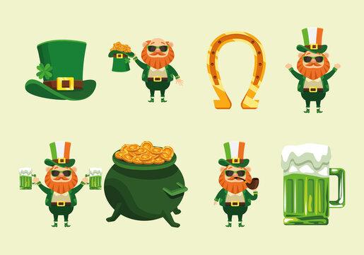 bundle of eight happy saint patricks day icons