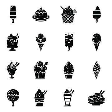 Pack of Ice Cream, Sundaes and Gelatos in Flat Icons
