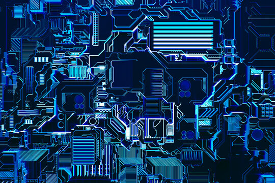 3d illustration of a realistic model of a robot or blue cyber armor. Close-up equipment for mining crypto-bitcoin; ether. Video cards; motherboards