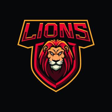 Lions mascot logo design illustration for sport or e-sport team