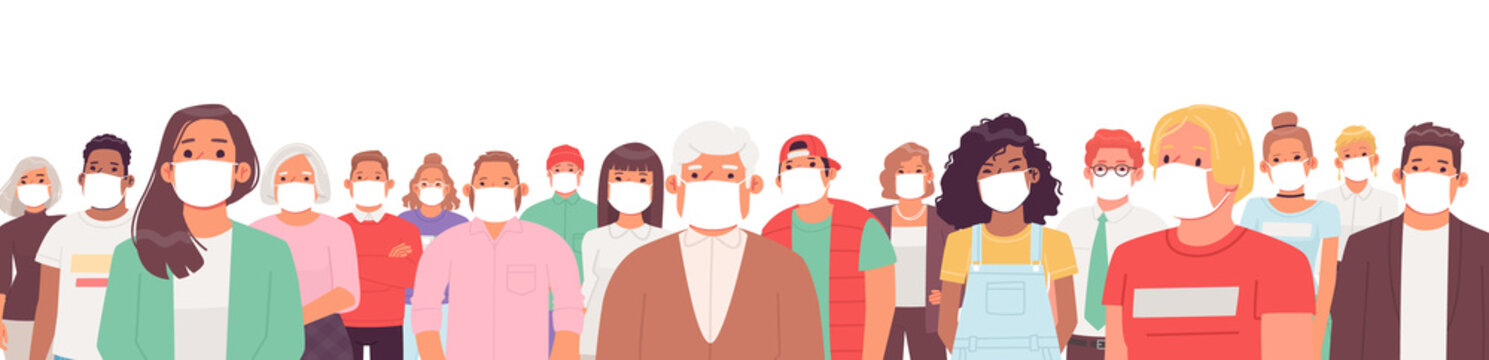 Portrait of people in medical masks. A group of men and women of different ages and nationalities wear masks